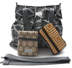 Diaper Bag Gift Set - Black Heni Diaper Bag - Travel Pad - Wipes Case - Messenger Strap