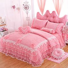 [Canony Bed DIY Ideas] LELVA Girls Bedding Set Ruffle Lace Bedding Set Bedding Set Beautiful Princess Wedding Bedding Set (Twin, Pink) -- You can get more details by clicking on the image. Handmade Bed Sheets, Diy Bed Sheets, King Size Bed Sheets, Bed Sheet Sets, Pink Bedding Set, Lace Bedding, Girls Bedding Sets, Ruffle Duvet, Draps Design