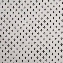 White/Black Fleur de Lis Cotton Poplin