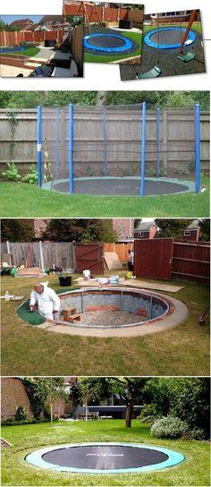 Safe and Cool: A Sunken Trampoline For Kids - Backyard play area for kids - Sunken Trampoline, Backyard Trampoline, Backyard Playground, Backyard For Kids, Backyard Projects, Outdoor Projects, Playground Ideas, Desert Backyard, Backyards