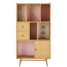 Bücherschrank mit Tür und 2 Schubladen, gemustert