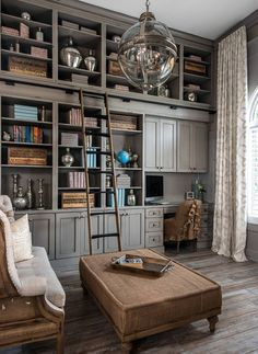 """Home office. Gray cabinet. Home office gray cabinet ideas. The cabinets came from Dura Supreme Cabinetry. The color is Heritage """"D"""". home-office-with-gray-cabinet #homeoffice #graycabinet #homeofficecabinet Kate Benjamin Photography LLC (Dillman & Upton, SL Smith Design - Cabinet Designer: Lindsey Markel)"""