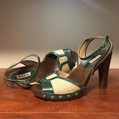 """Marni platform sandals 4"""" heel, canvas with emerald leather trim, closure ankle strap. Really good condition. Marni Shoes Platforms"""