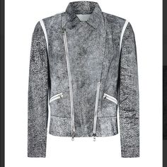 3.1 Phillip Lim Cracked Leather Jacket NWT Texturing and contrast trim throughout Notch collar Zipper pockets at front Tonal top stitching and panel seaming Asymmetrical two-way front zipper closure Fully lined 100% Lamb Leather • Size 6 • Available for purchase on other apps ➡️ Ⓜ️erc. 3.1 Phillip Lim Jackets & Coats