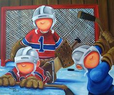 Hockey Decor, Cupcake Illustration, Small Paintings, Canvas Paintings, Bird Drawings, Sports Art, Tole Painting, Winter Time, Cool Things To Make