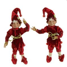 "RAZ Posable Elf Christmas Decoration Set of 2  2 Assorted elves, set includes one of each style Red, Burgundy, Cream, Gold accents Made of Polyester Measures 10"" X 3"" RAZ Exclusive  RAZ"