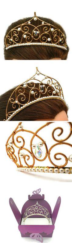 Silver, gold, pearl & crystal tiara, swarovski crown, wedding hair accessory ideas, bridal hairstyle inspiration.