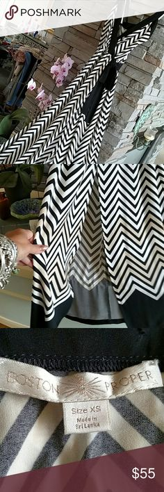 Boston Proper, Maxi Dress , Black & White Boston Proper Maxi Dress, Black & White w/ a little tan stripes added on bottom, Chevron pattern , slit up front stops above the knee. I did take up the straps because it came to way low cut for me so now can be worn with a bra.  Left material there I'd want to lower straps back down. Boston Proper Dresses Maxi