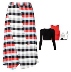 """""""Tanya Taylor - Checked Wrap Skirt Style"""" by twinklebluegem ❤ liked on Polyvore featuring mode, T By Alexander Wang, Cushnie Et Ochs, Tanya Taylor, Jil Sander, Lord & Berry, Butter London en Ancient Greek Sandals"""