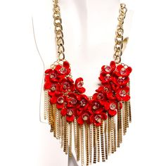 Red gold floral accent chains necklace (620 UAH) ❤ liked on Polyvore featuring jewelry, necklaces, red, rose gold necklace, red jewelry, adjustable chain necklace, red necklace and red rose jewelry