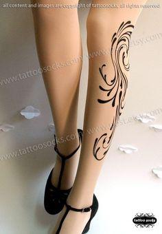 plus size xxl sexy DAYDREAM tattoo tights / by tattoosocks on Etsy, $23.00