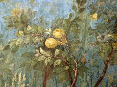 A quince tree in fruit. Detail of the garden mural from the triclinium in the House of Livia, Rome. Fresco, Tempera, Underground Garden, Garden Of Lights, Gouache, Garden Mural, Magic Realism, Roman Art, Villa