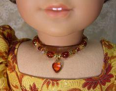 AMBER Vintage HEART NECKLACE for American Girl Dolls Glass Beads with gold for Caroline, Regency,  Elizabeth Felicity Cecile