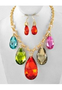 Chunky Multi Color Glass Teardrop Statement Necklace Set