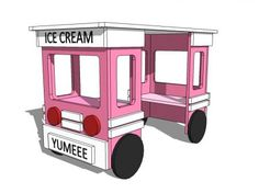 Ice Cream Truck Play Table or Desk - plans from Ana White Sand Projects, Diy Projects Plans, Easy Diy Projects, Woodworking Projects, Woodworking Vise, Kids Table And Chairs, Play Table, Table Desk, Play Ice Cream