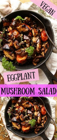 This Vegan Roasted Eggplant Mushroom Salad is topped with toasted pine nuts, and roasted with fresh thyme leaves, olive oil, garlic and more! It's simple, effortless, and delicious, and makes the perfect side dish or starter salad for any occasion! #salad #meatlessmonday #plantbased