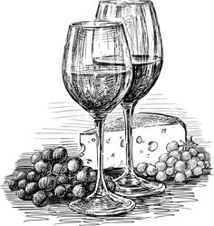 Wine Glasses And Cheese Royalty Free Stock Image – Image: 30409156 – Lisa Finlay – # … - Zeichnung Still Life Sketch, Still Life Drawing, Art Drawings Sketches Simple, Pencil Art Drawings, Wine Glass Drawing, Arte Sketchbook, Pen Art, Cheese Drawing, Black Pen Drawing