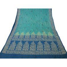 Indian Vintage Craft Saree Pure Silk Embroidered Fabric Décor Art Blue Sari 5YD
