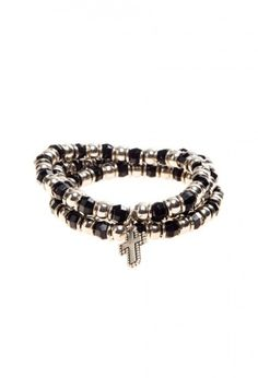 Yael G - Pulsera Triple Cross negro