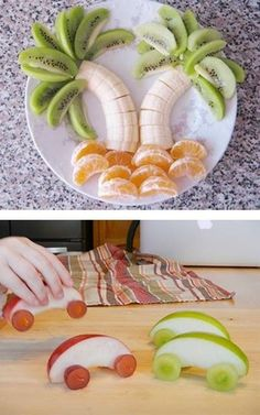 Creative food display for the kiddos using healthy fruit, fun snacks for kids Baby Food Recipes, Cooking Recipes, Cooking Corn, Kid Recipes, Snacks Recipes, Cooking Turkey, Juice Recipes, Apple Recipes, Drink Recipes