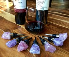 Raw Crystal Wine Stopper - Raw Rose Quartz Crystal Wine Cork - Raw Amethyst Crystal Wine Gifts - healing crystals and stones amethyst stone