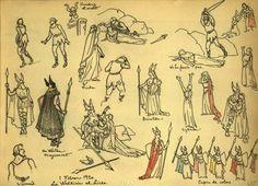 Representació de Las Valkirias al Liceu - Quadern de dibuix de Joaquim Renart. 19, Realitzat entre el 12 de desembre de 1919 i el 12 de febrer de 1920 :: Materials gràfics (Biblioteca de Catalunya)