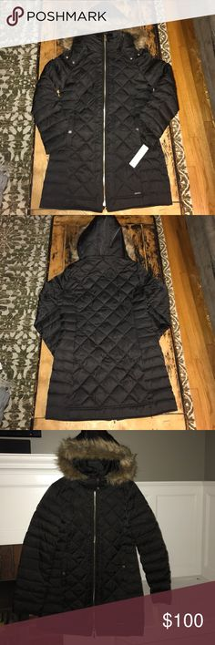 NWT Black Kenneth Cole New York Medium Jacket Beautiful NWT Kenneth Cole New York Medium Jacket; Medium length; Quilted Poly Down; Faux fur removable zip off hood. Kenneth Cole Jackets & Coats Puffers