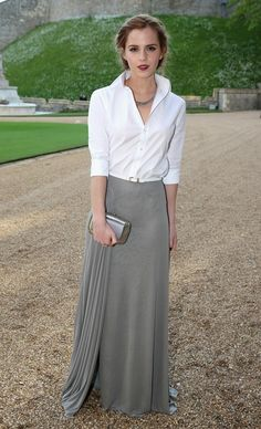 In A White Blouse And Maxi Skirt, 2014 | Emma Watson's Style Evolution From 'Harry Potter' Geek Chic To International Couture Darling | Bustle