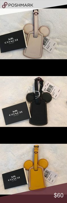 Coach x Disney Mickey Ear leather luggage tag Leather Mickey Ear luggage tag from the Coach xDisney line. Have one each of white, black and yellow for sale. Coach Other