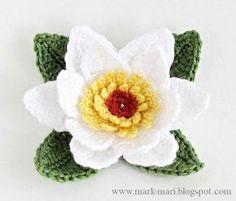 Crochet flower pattern PNGWater lily pattern crochet by Endzibaby Yarn Flowers, Knitted Flowers, Crochet Flower Patterns, Flower Applique, Diy Flowers, Pattern Flower, Crochet Brooch, Crochet Motif, Crochet Diagram