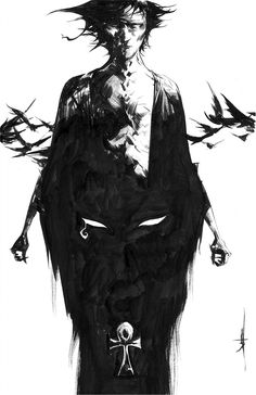 Jae Lee - Morpheus The Sandman Comic Art Sandman Gaiman, Death Sandman, Neil Gaiman, Comic Book Artists, Comic Artist, Comic Books Art, Illustrations, Illustration Art, Morpheus Sandman