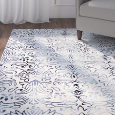 Alland Hand-Tufted Ivory/Blue Area Rug #birchlane