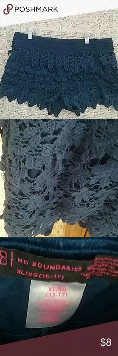 Knit shorts So cute, navy deep blue knit  shorts. Has elastic waist. Never worn, tag still on. No Boundaries Shorts