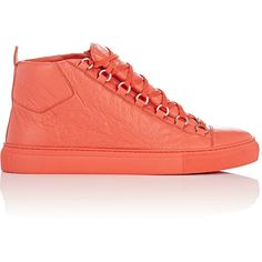 Balenciaga Arena High-Top Sneakers ($585) ❤ liked on Polyvore featuring men's fashion, men's shoes, men's sneakers, orange, mens lace up shoes, mens high top sneakers, balenciaga mens shoes, mens flat shoes and mens high top shoes