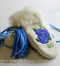 Dene Mittens by Priscilla Wetrade of Gameti, NT. Indian Beadwork, Native Beadwork, Native American Beadwork, Loom Beading, Beading Patterns, Beadwork Designs, Bead Sewing, Indian Crafts, Nativity Crafts