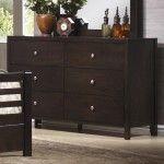 Coaster Furniture - Zoe Contemporary Dark Brown Wood 6-Drawer Dresser - 26200803  SPECIAL PRICE: $458.99