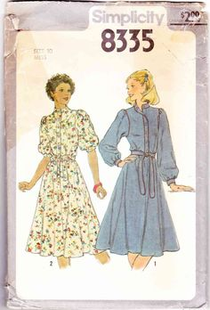 70s Women Dress Vintage Sewing Pattern Simplicity 8335 Miss 10