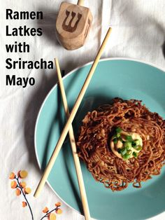 Ramen Latkes with Sriracha Mayonnaise - A Celebration of the flavors of Jewish Los Angeles. ~ Recipe from Whitney Fisch of Jewhungry the Blog.