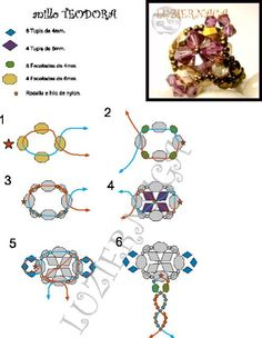 FREE Pattern for Ring TEODORA. Use: bicone beads 4mm and 6mm, faceted beads 4mm and 6mm, seed beads 11/0.