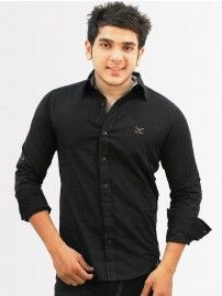Mufti Men Black Colored Spread Collared Shirt