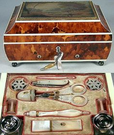 Antique French Palais Royal Music and Sewing Box, Gold, Tortoise Shell & Ivory, Tortoiseshell. Vintage Sewing Notions, Antique Sewing Machines, Vintage Sewing Patterns, Sewing Tools, Sewing Hacks, Sewing Crafts, Sewing Kits, Antique Boxes, Rare Antique