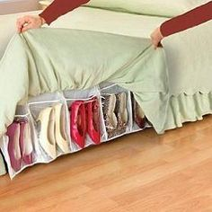 Bedskirt Shoe Organizer - Holds 16 pairs of shoes. This product comes from the As Seen On TV Guys. Personally, I think this could be easily transformed into a DIY project.