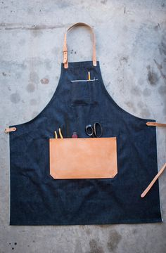 Selvedge Denim & Leather Apron // Made in USA // AmericanNative, $85.00