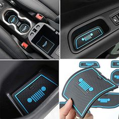 Blue Anti-dust Non-Slip Interior Door,Cup,Arm Box,Storage Mat For Jeep Renegade 2016 2017 (Pack of Red Jeep, Blue Jeep, Jeep Jl, Jeep Truck, Jeep Grand Cherokee Accessories, Jeep Wrangler Accessories, Jeep Wrangler Jk, Jeep Wrangler Unlimited, Jeep Wrangler Interior