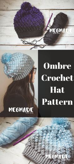 Ombre Crochet Hat Pattern- love that I don't need a special kind of yarn to create this slouchy hat #crochetpattern #affiliate #ombre