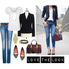 """Jeans and Blazer"" by bluehydrangea on Polyvore"
