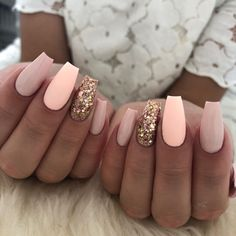 43 Beautiful Prom Nails for Your Big Night Pretty Pink and Glitter Coffin. - 43 Beautiful Prom Nails for Your Big Night Pretty Pink and Glitter Coffin Nails Ahead of the prom Cute Nails, Pretty Nails, Peach Nails, Peach Nail Art, Peach Colored Nails, Light Colored Nails, Light Nails, Bright Pink Nails With Glitter, Coral Pink Nails