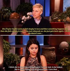 Selena talks about Taylor on the Ellen Show !!:)