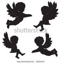 Set Of Vector Silhouettes Of Angels - 20912344 : Shutterstock