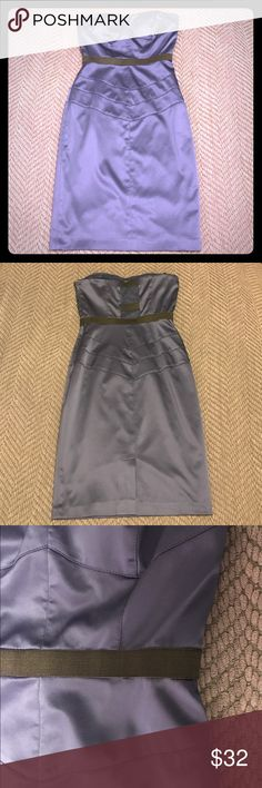 Jessica Simpson strapless satin dress Jessica Simpson strapless satin dress. Sweetheart neckline, darting, mesh panel back and black accent waistband. Color: dark periwinkle and black. Size: 2. Satin, lined, slightly stretchy material. Worn once to wedding. Dry clean. Excellent condition!!!!!! Jessica Simpson Dresses Strapless
